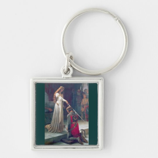 Lady queen knighting knight antique painting keychain