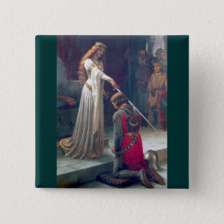 Lady queen knighting knight antique painting pinback button