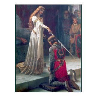 Lady queen knighting knight antique painting postcard