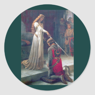 Lady queen knighting knight antique painting classic round sticker