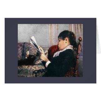Lady Reading a Newspaper 1880 Card