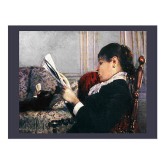 Lady Reading a Newspaper 1880 Postcard