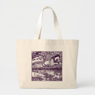 Lady Reading beside a pond Large Tote Bag
