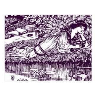 Lady Reading beside a pond Postcard