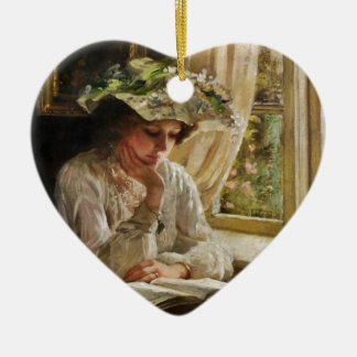 Lady Reading by a Window Ceramic Ornament