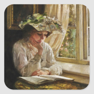 Lady Reading by a Window Square Sticker