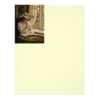 Lady Reading by Window Letterhead Design
