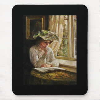 Lady Reading by Window Mouse Pads