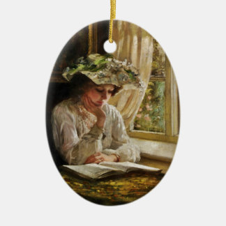 Lady Reading by Window Double-Sided Oval Ceramic Christmas Ornament