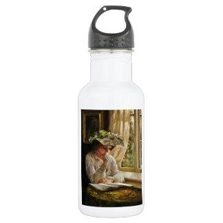 Lady Reading by Window 18oz Water Bottle