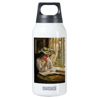 Lady Reading by Window 10 Oz Insulated SIGG Thermos Water Bottle