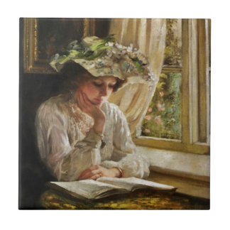 Lady Reading by Window Small Square Tile