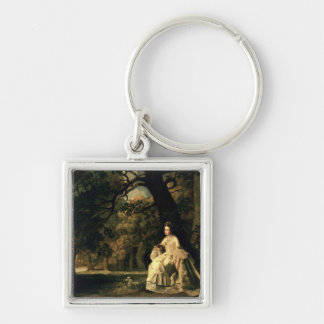 Lady reading in a Park, c.1768-70 Keychain