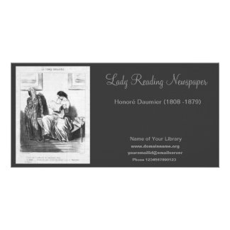 Lady Reading Newspaper Card
