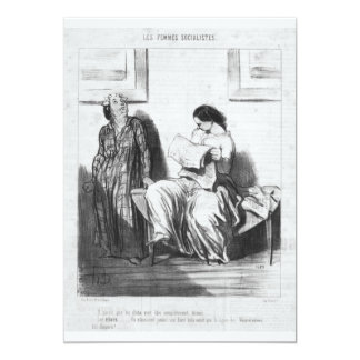 Lady Reading Newspaper 5x7 Paper Invitation Card