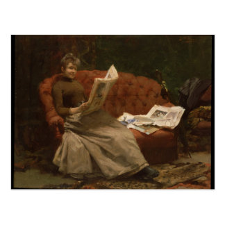 Lady Reading Postcard