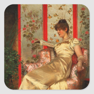 Lady Reading Square Sticker