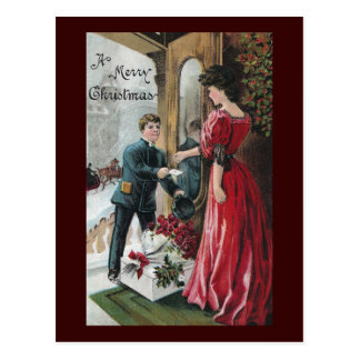 Lady Receives Christmas Delivery Postcard