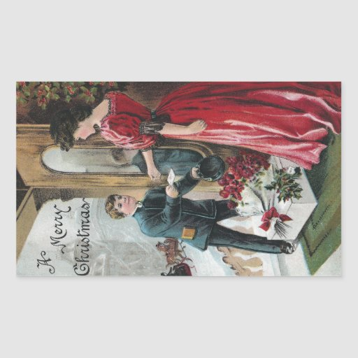 Lady Receives Christmas Delivery Rectangular Sticker