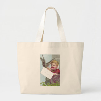 Lady Receives Mail Via Pigeon Large Tote Bag