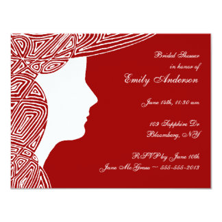 Lady Red Bridal Shower Invitation