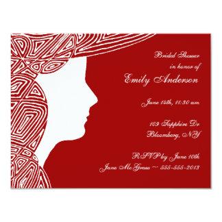 "Lady Red Bridal Shower Invitation 4.25"" X 5.5"" Invitation Card"