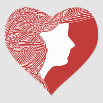 Lady Red Heart Stickers