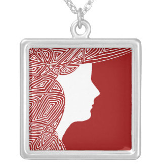 Lady Red Silver Plated Necklace