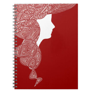 Lady Red Spiral Note Books