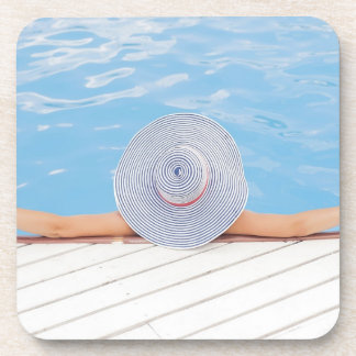 Lady Relaxing in the Swimming Pool Drink Coaster