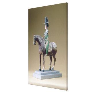 Lady rider, Astana, 7th century (stucco) Canvas Print