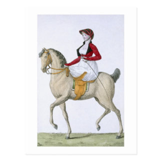 Lady riding sidesaddle, from 'Costumes Parisien', Postcard