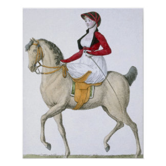Lady riding sidesaddle, from 'Costumes Parisien', Poster