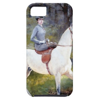 Lady Riding White Horse Painting Case For iPhone 5/5S