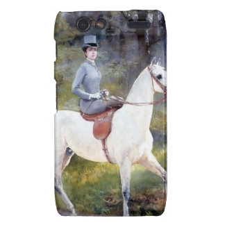 Lady Riding White Horse Painting Motorola Droid RAZR Cover