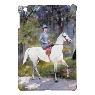 Lady Riding White Horse Painting Cover For The iPad Mini