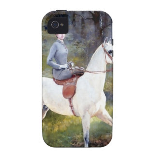 Lady Riding White Horse Painting iPhone 4 Cases