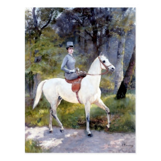 Lady Riding White Horse Painting Post Card