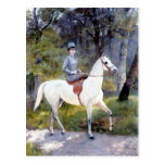 Lady Riding White Horse Painting Postcard