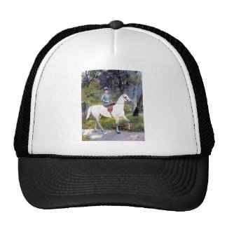 Lady Riding White Horse Painting Trucker Hat