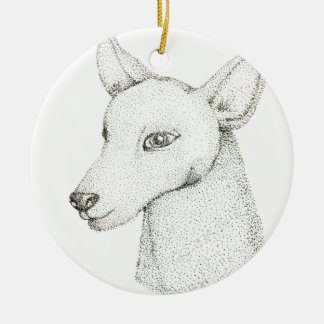 Lady RudolphInk pointillism digitally manipulated. Ceramic Ornament