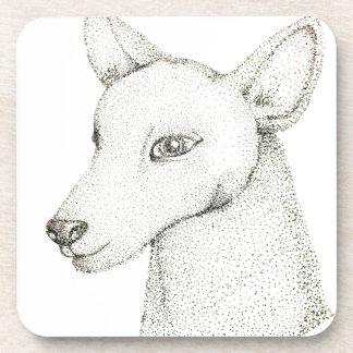 Lady RudolphInk pointillism digitally manipulated. Beverage Coaster