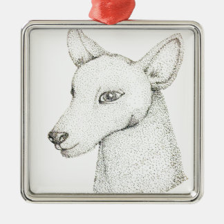 Lady RudolphInk pointillism digitally manipulated. Metal Ornament