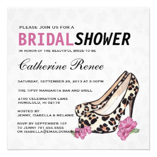 Lady s Jaguar Stiletto Hibiscus Bridal Shower Personalized Invitation