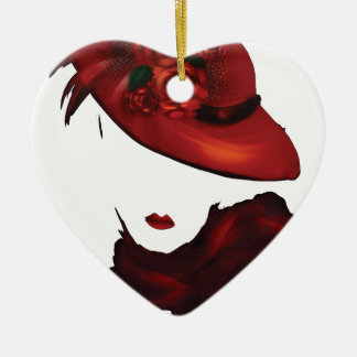Lady Scarlet Double-Sided Heart Ceramic Christmas Ornament