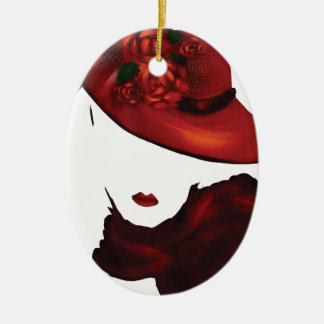 Lady Scarlet Double-Sided Oval Ceramic Christmas Ornament