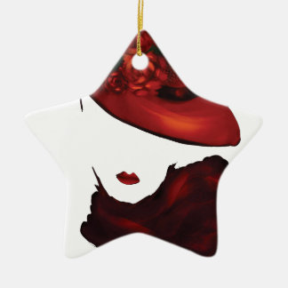 Lady Scarlet Double-Sided Star Ceramic Christmas Ornament