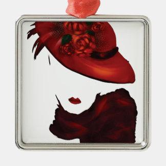 Lady Scarlet Square Metal Christmas Ornament
