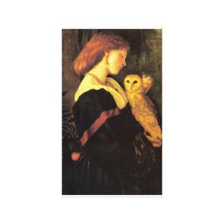 Lady screech Owl antique painting Canvas Print
