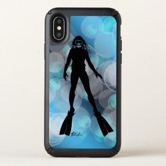 Lady Scuba Diver in Bubbles Speck iPhone X Case